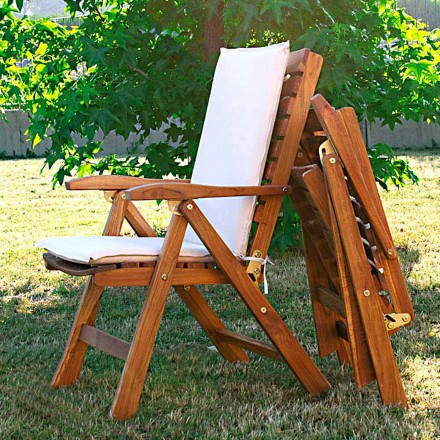 Teak wood foldable outdoor armchair