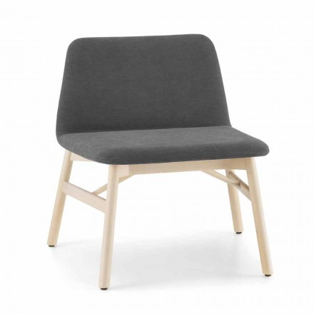 Precious Armchair in Fabric or Velvet with Beech Base Made in Italy - Molde