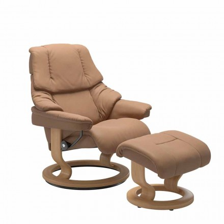 Leather Reclining Armchair with Headrest and Ottoman - Stressless Reno