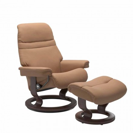 Leather Reclining Armchair with Headrest and Ottoman - Stressless Sunrise