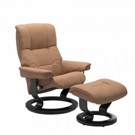 Leather Reclining Armchair with Ottoman by Stressless – Mayfair