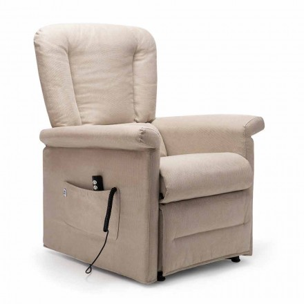 2 Motors Lift Relax Reclining Armchair with Wheels, Made in Italy - Isabelle