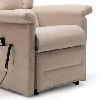 2 Motors Lift Relax Reclining Armchair with Wheels Made in Italy - Isabelle
