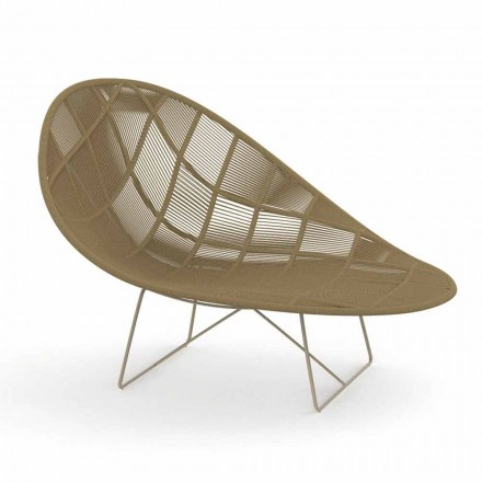 Modern Garden Relax Armchair in Aluminum and Fabric - Panama by Talenti