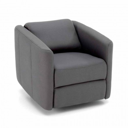 Modern Swivel Reclining Lounge Armchair in Leatherette - Magalotti