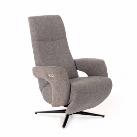 Eletric recliner armchair, with 2 Motors, in Melange Fabric and Metal - Denna