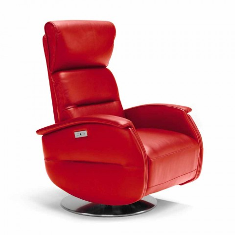 Motorized swivel relax armchair in Gemma fabric / leather / eco-leather