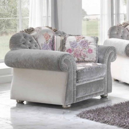 Fabric armchair with a classic design, handmade in Italy, Romantic