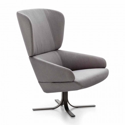 Fabric Lounge Armchair with Swivel Metal Base Made in Italy - Liana