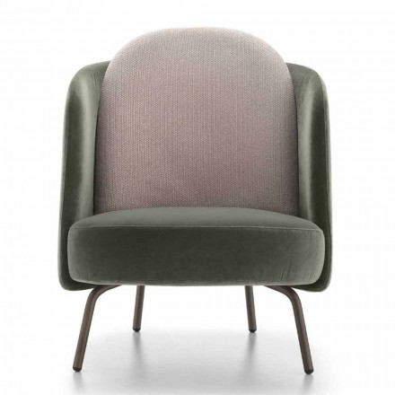 Living Room Armchair Covered in Fabric with Metal Base Made in Italy - Ribes