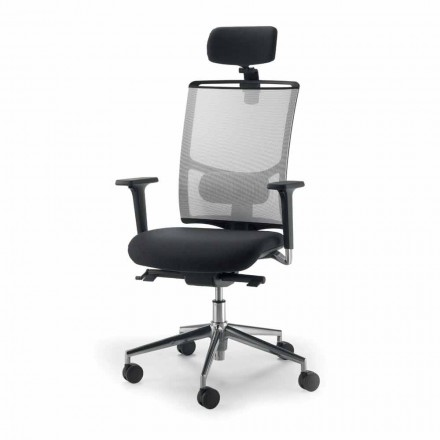 Mesh swivel task chair Mina with leather details, modern design
