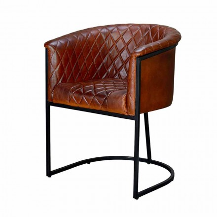 Vintage Style Armchair in Quilted Leather and Black Design Iron - Flacca