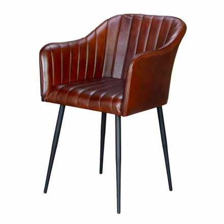 Vintage Armchair in Brown Leather with Classic Design Black Legs - Edgarda