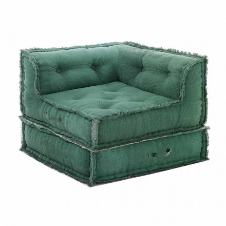 Corner Chaise Longue armchair in Gray, Green or Blue Cotton - Fiber