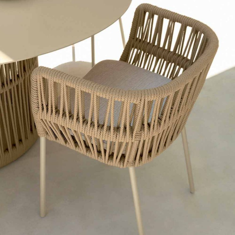 Cliff Talenti outdoor armchair in rope and fabric by Palomba