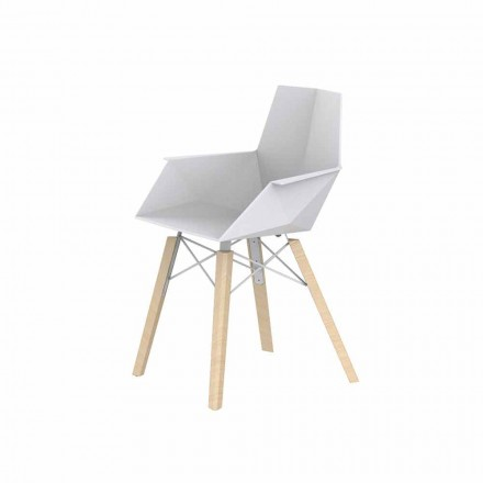 Design Living Room Armchair in Polypropylene and Wood - Faz Wood by Vondom