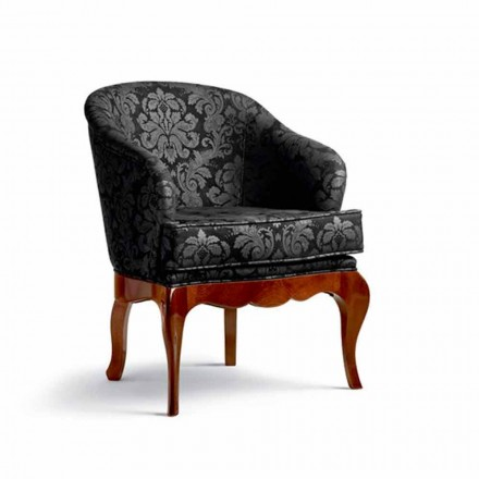 Upholstered armchair Tita, leather and solid wood, made in Italy