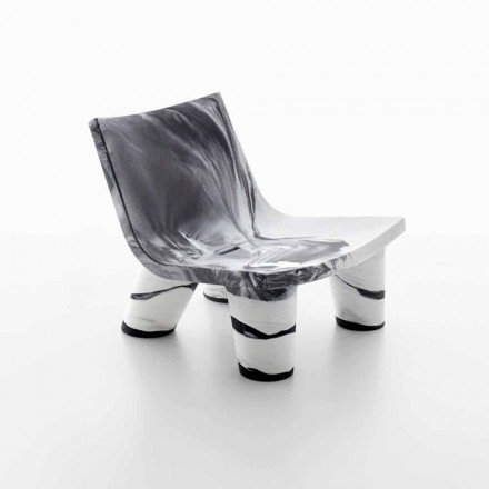 Outdoor lounge white and black armchair, Slide Low Lita Anniversary
