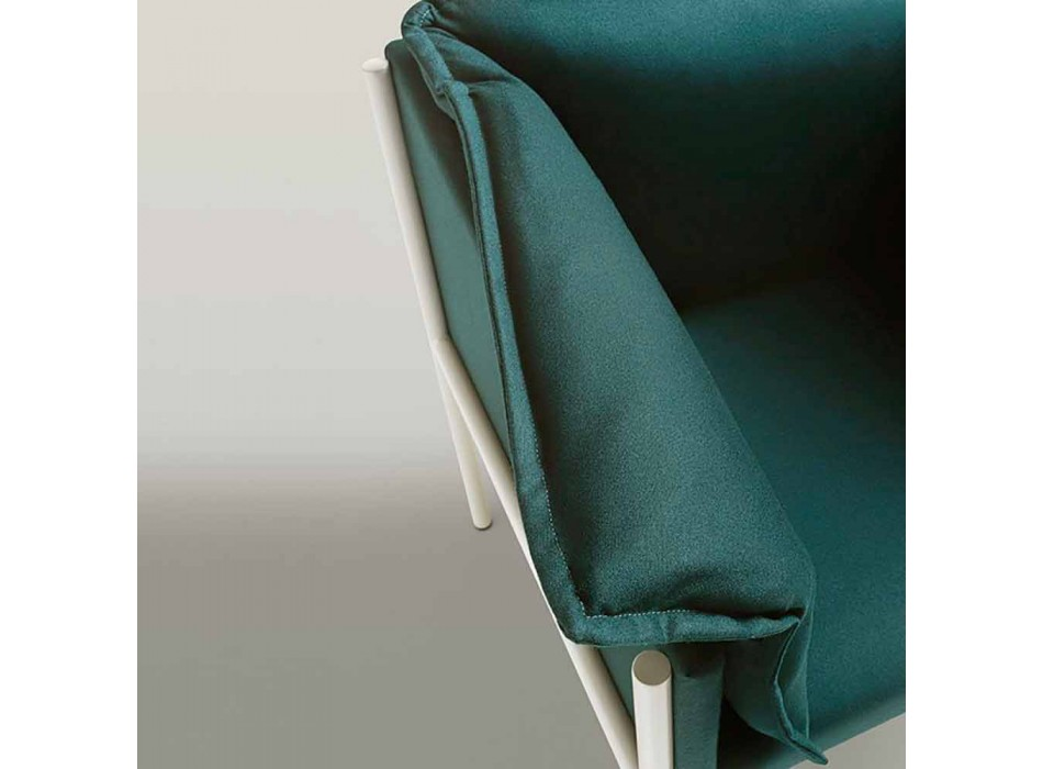 Armchair for the Living Room of Modern Design in Steel with Cushions - Carmen