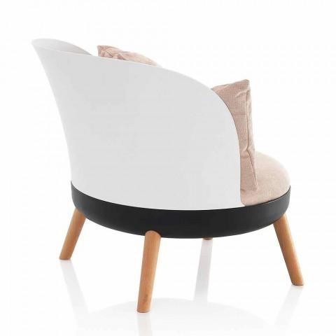Armchair Upholstered in Microfiber Velvet Effect and Metal Feet - Cinella
