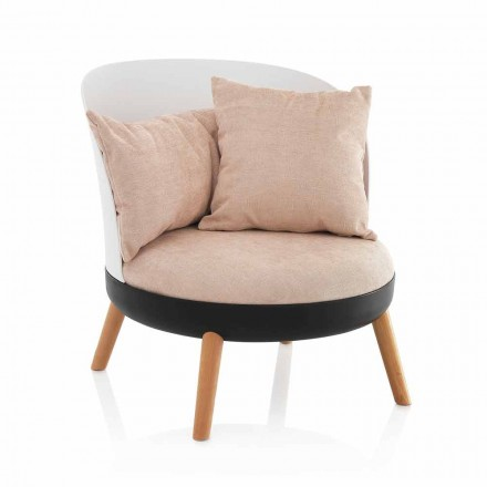 Armchair Upholstered in Microfiber Velvet Effect and Metal Feet - Cinella