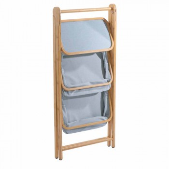Design bathroom accessory holder in Vercelli fabric and bamboo