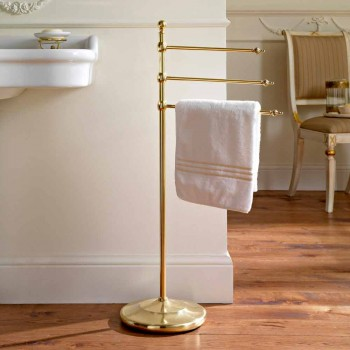 Brass 3-Arm Floor Bathroom Towel Holder Made in Italy - Brest
