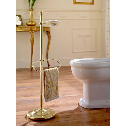 Floor Towel Holder with Brass and Ceramic Soap Dish - Rouen