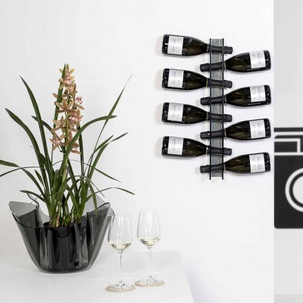 Modern wall fixed bottle holder Baby Small L6xH60xP11cm, fumé finish