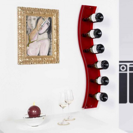 Modern wall mounted wine rack Serry, red color, L26,5xH100xP9cm