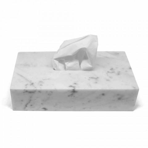 Modern Handkerchief Holder in White Carrara Marble Made in Italy - Rafa