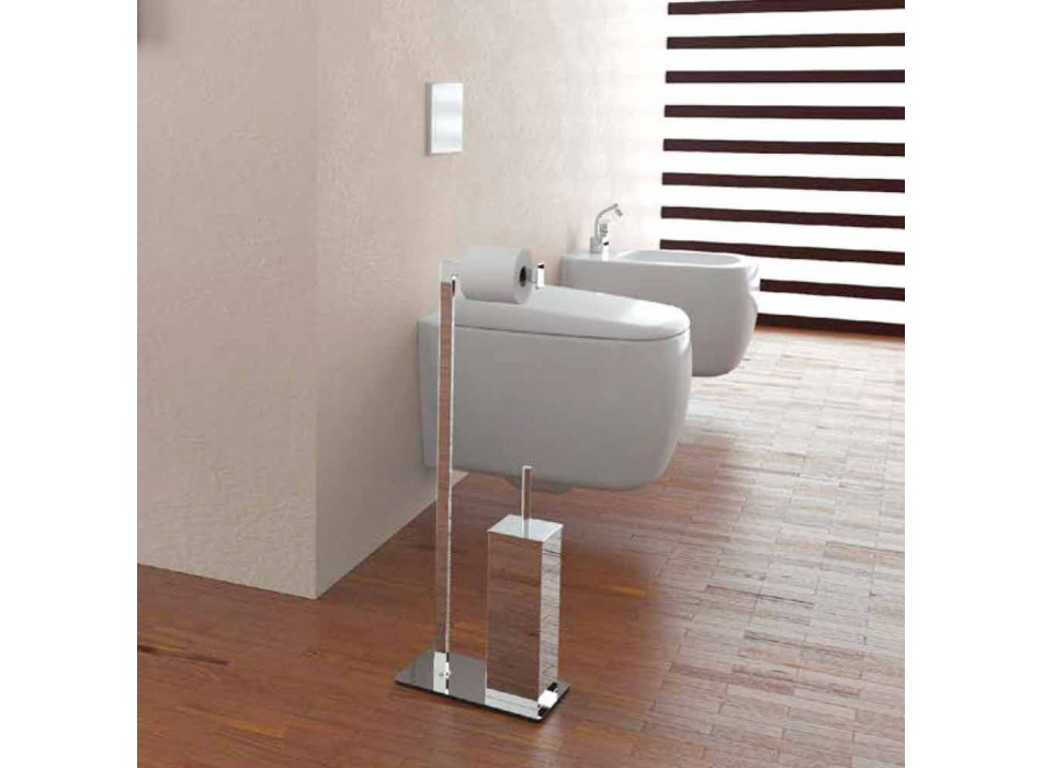 Chrome or Painted Roll Holder and Toilet Brush Made in Italy - Eneo