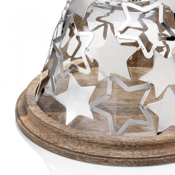 Bell Cake Holder in Wood and Glass with Silver Metal Stars - Ilenia