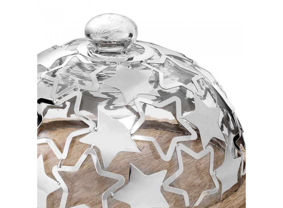Cake Holder in Wood and Glass with Luxury Silver Metal Stars - Ilenia