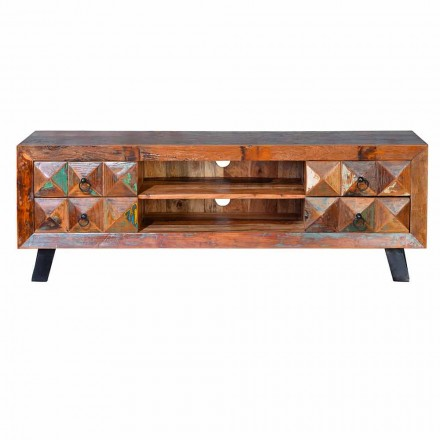 Low Design TV Stand in Recycled Wood Mobile with 4 Drawers - Geremia