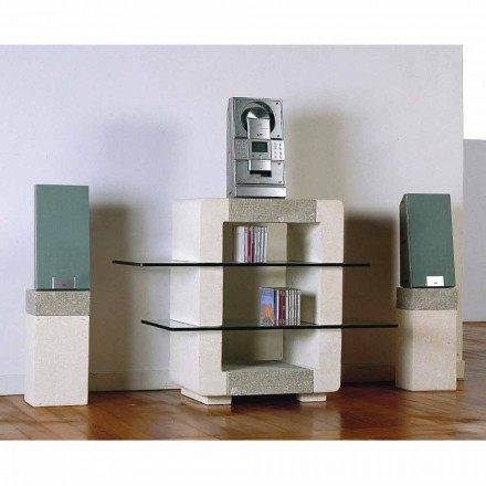 Hi-fi TV stand made of natural stone and crystal Xeni, modern design