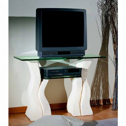 Made in Italy TV table made of Vicenza natural stone and crystal Khloe
