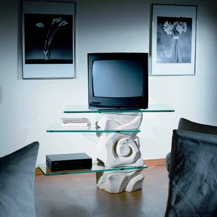 Classic TV table made of Vicenza natural stone and crystal Agape