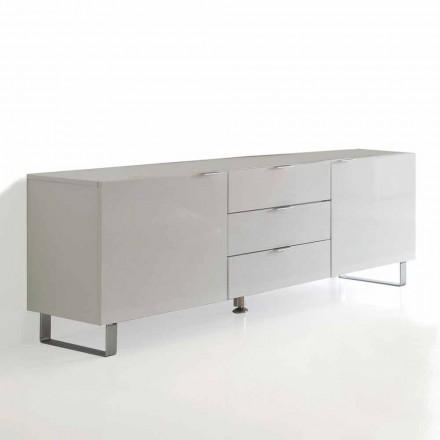 Modern design TV stand Saffo, lacquered white finish