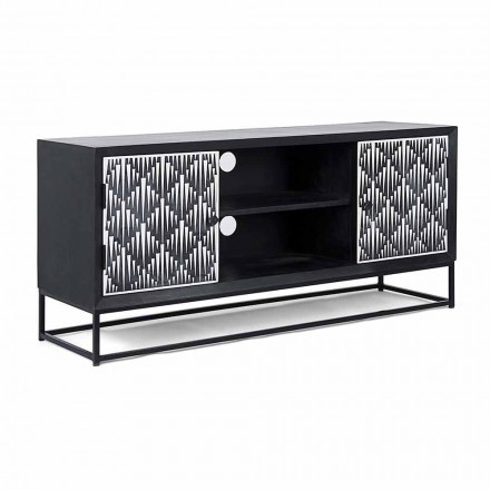 Modern TV Stand in Mango Wood with Homemotion - Psycho Mosaic Workmanship