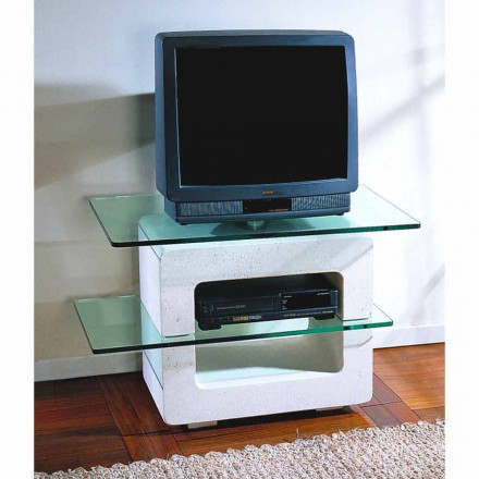 Modular TV stand made of natural stone and crystal Eleni,made in Italy