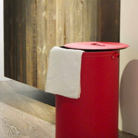 Cylindrical laundry basket in regenerated handmade leather Roby