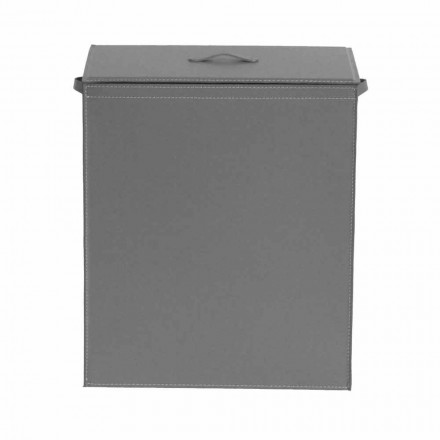 Leather laundry basket with a rectangular design base Peter