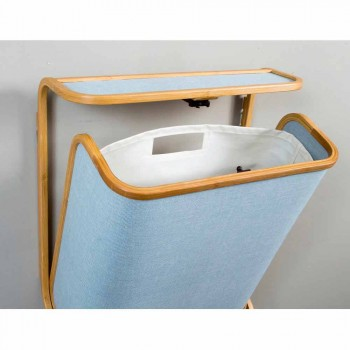 Modern wall laundry basket in Navy fabric and Valenza bamboo