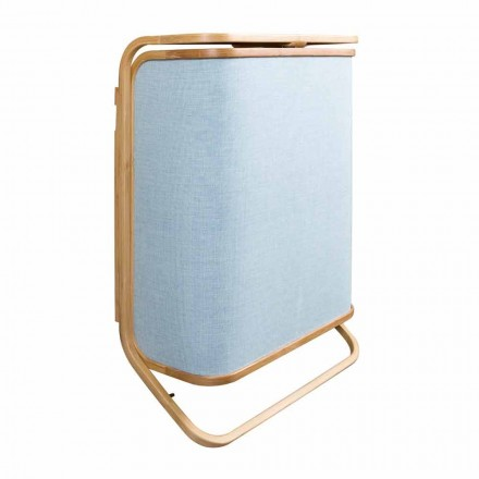 Modern wall laundry basket in navy fabric and bamboo Valenza