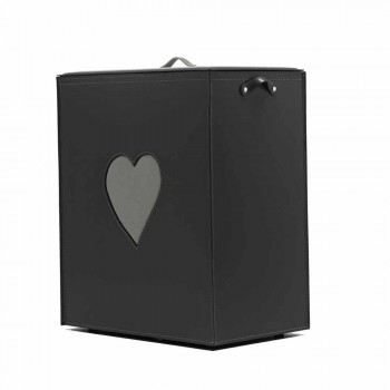 Contemporary leather laundry basket made in Italy Adele, heart insert