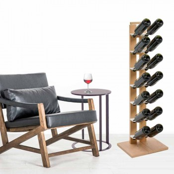 Zia Gaia column wine rack with wooden shelves made in Italy