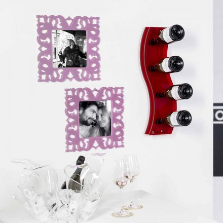 Red wall mounted wine rack Serry Small L26,5xH60xP9 cm, modern design