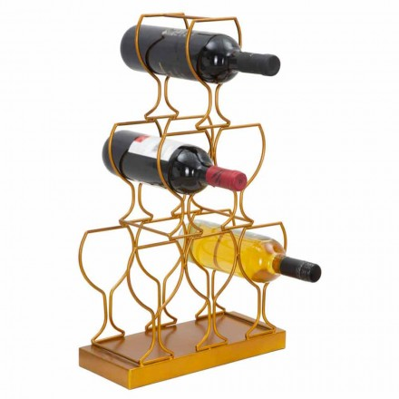 Floor or Table Bottle Rack 6 Iron Bottles, Modern Design - Brody