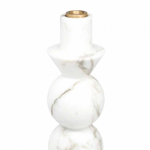Tall Candle Holder in White Carrara Marble and Brass Made in Italy - Oley